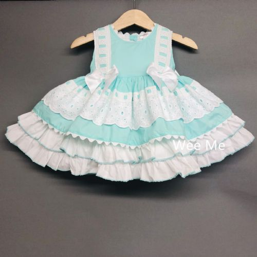 New Gorgeous Wee Me Baby Girl Light Aqua Puff Ball Summer Dress